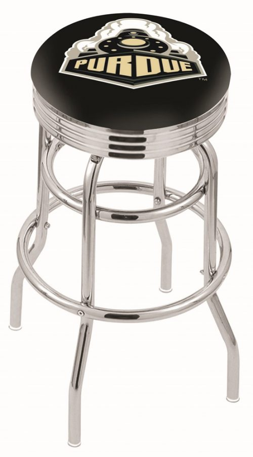 "Purdue Boilermakers (L7C3C) 25"" Tall Logo Bar Stool by Holland Bar Stool Company (with Double Ring Swivel Chrome Base)"