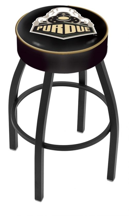 "Purdue Boilermakers (L8B1) 25"" Tall Logo Bar Stool by Holland Bar Stool Company (with Single Ring Swivel Black Solid Welded Base)"