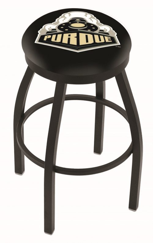 "Purdue Boilermakers (L8B2B) 30"" Tall Logo Bar Stool by Holland Bar Stool Company (with Single Ring Swivel Black Solid Welded Base)"