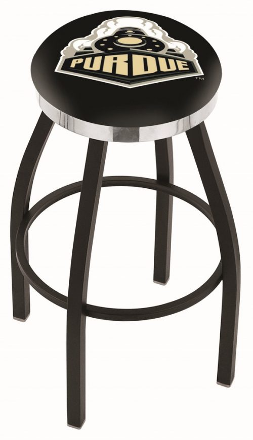 "Purdue Boilermakers (L8B2C) 25"" Tall Logo Bar Stool by Holland Bar Stool Company (with Single Ring Swivel Black Solid Welded Base)"