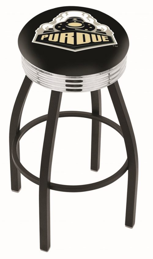 "Purdue Boilermakers (L8B3C) 25"" Tall Logo Bar Stool by Holland Bar Stool Company (with Single Ring Swivel Black Solid Welded Base)"