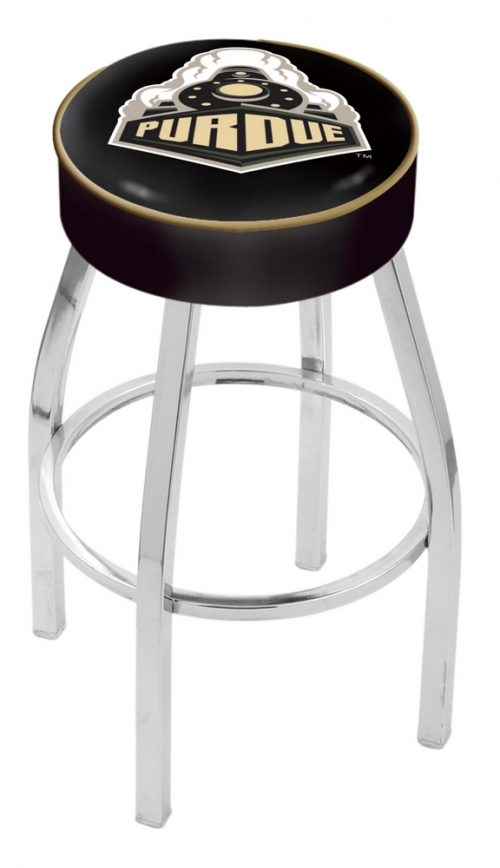 "Purdue Boilermakers (L8C1) 25"" Tall Logo Bar Stool by Holland Bar Stool Company (with Single Ring Swivel Chrome Solid Welded Base)"