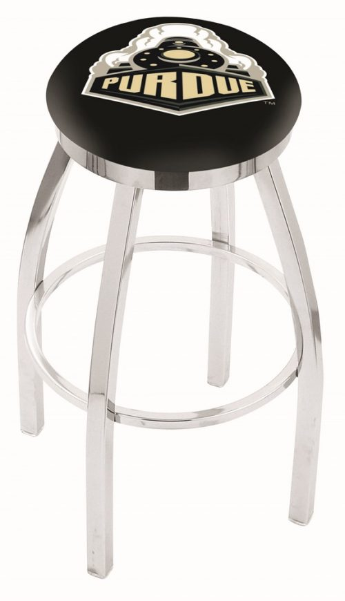 "Purdue Boilermakers (L8C2C) 30"" Tall Logo Bar Stool by Holland Bar Stool Company (with Single Ring Swivel Chrome Solid Welded Base)"
