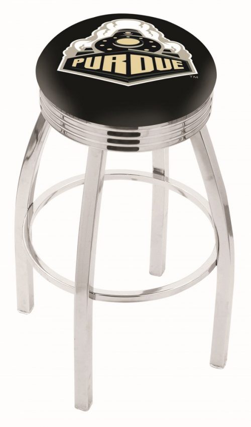 "Purdue Boilermakers (L8C3C) 25"" Tall Logo Bar Stool by Holland Bar Stool Company (with Single Ring Swivel Chrome Solid Welded Base)"