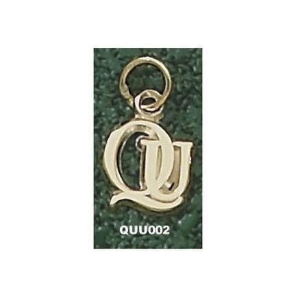 """Quinnipiac Braves """"QU"""" 3/8"""" Charm - 14KT Gold Jewelry"""