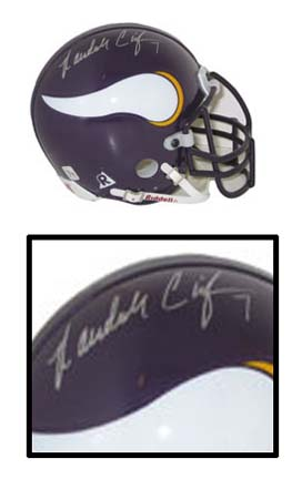 Randall Cunningham, Minnesota Vikings Old Logo Autographed Riddell Authentic Mini Football Helmet