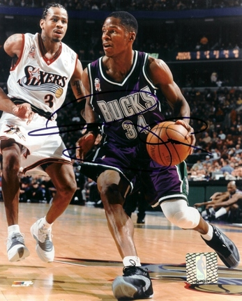 "Ray Allen ""With Ball"" Autographed Milwaukee Bucks 8"" x 10"" Photograph (Unframed)"