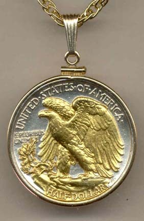"Reverse Walking Liberty Half Dollar (1916 - 1947) Two Tone Plain Edge U.S. Coin with 24"" Chain"