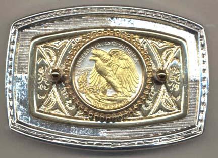Reverse Walking Liberty Half Dollar (1916-1947) Two Tone U.S. Coin Belt Buckle