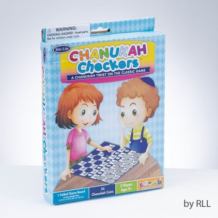 Rite Lite GAC-9 Chanukah Checkers Game & 1 Game Board- Color Box - 24 Pieces -pack of 6