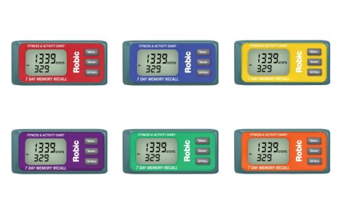 Robic 1498163 M339 Pedometer Set with 3D Motion Sensor Memory Assorted - Set of 6