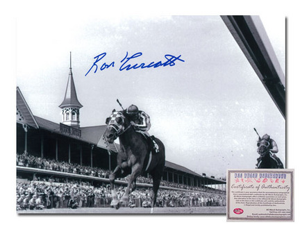"Ron Turcotte Secretariat Horse Racing Kentucky Derby ""Triple Crown Winner 1973 Black and White"" Autographed 11"" x 14"" Photograph"