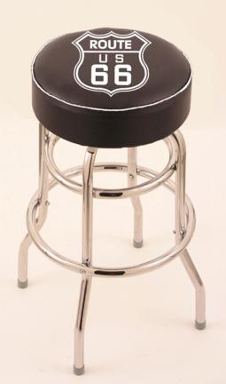 "Route 66"" (L7C1) 25"" Tall Logo Bar Stool by Holland Bar Stool Company (with Double Ring Swivel Chrome Base)"