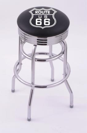 "Route 66"" (L7C3C) 25"" Tall Logo Bar Stool by Holland Bar Stool Company (with Double Ring Swivel Chrome Base)"