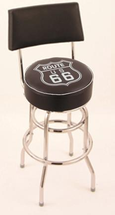 """Route 66"""" (L7C4) 25"""" Tall Logo Bar Stool by Holland Bar Stool Company (with Double Ring Swivel Chrome Base and Chair Seat Back)"""