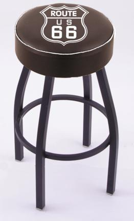 "Route 66"" (L8B1) 25"" Tall Logo Bar Stool by Holland Bar Stool Company (with Single Ring Swivel Black Solid Welded Base)"