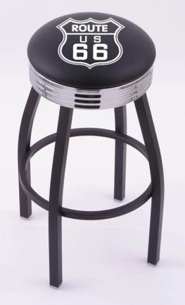 "Route 66"" (L8B3C) 30"" Tall Logo Bar Stool by Holland Bar Stool Company (with Single Ring Swivel Black Solid Welded Base)"