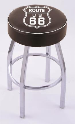 "Route 66"" (L8C1) 25"" Tall Logo Bar Stool by Holland Bar Stool Company (with Single Ring Swivel Chrome Solid Welded Base)"
