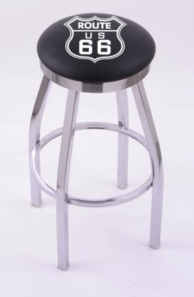 "Route 66"" (L8C2C) 25"" Tall Logo Bar Stool by Holland Bar Stool Company (with Single Ring Swivel Chrome Solid Welded Base)"