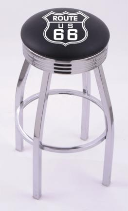 "Route 66"" (L8C3C) 25"" Tall Logo Bar Stool by Holland Bar Stool Company (with Single Ring Swivel Chrome Solid Welded Base)"