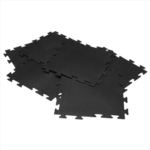 Rubber-Cal Armor-Lock Fitness Interlocking Gym Rubber Tiles - Black 6 Pack 20 x 20 x 0.38 in.