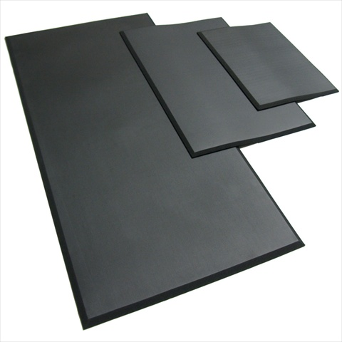 Rubber-Cal Comfort Cloud Foam Anti-Fatigue Rubber Mat - Black 24 x 18 x 0.38 in.