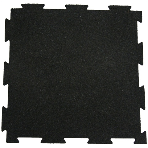 Rubber-Cal Puzzle-Lock Interlocking Rubber Exercise Gym Flooring Tiles - Black 20 x 20 x 0.38 in.