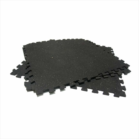 Rubber-Cal Z-Cycle Tiles Interlocking Protective Flooring Rubber Mat - Black with Small White Speckles 4 Pack 28.5 x 28.5 x 0.38 in.