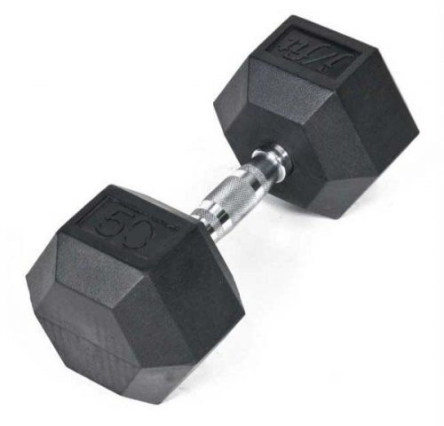 Rubber Coated Hex Dumbbell 50 lb. Single