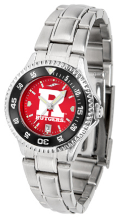 Rutgers Scarlet Knights Competitor AnoChrome Ladies Watch with Steel Band and Colored Bezel