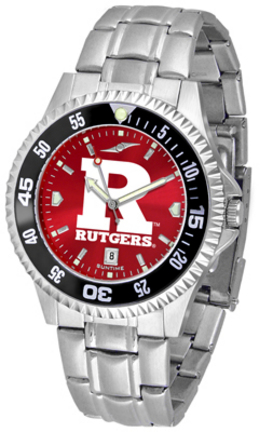 Rutgers Scarlet Knights Competitor AnoChrome Men's Watch with Steel Band and Colored Bezel