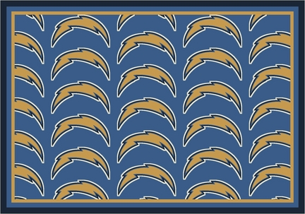 "San Diego Chargers 3' 10"" x 5' 4"" Team Repeat Area Rug (Powder Blue)"