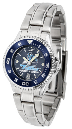 San Diego Toreros Competitor AnoChrome Ladies Watch with Steel Band and Colored Bezel