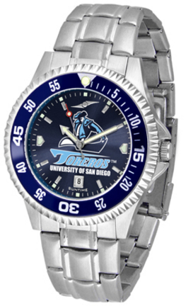 San Diego Toreros Competitor AnoChrome Men's Watch with Steel Band and Colored Bezel