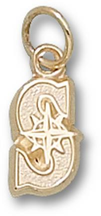 "Seattle Mariners ""S"" 3/8"" Charm - 14KT Gold Jewelry"