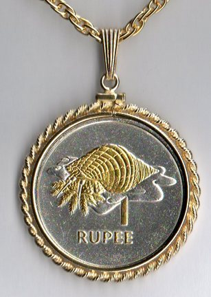 """Seychelles 1 Rupee """"Conch"""" Two Tone Rope Bezel Coin on 24"""" Chain"""