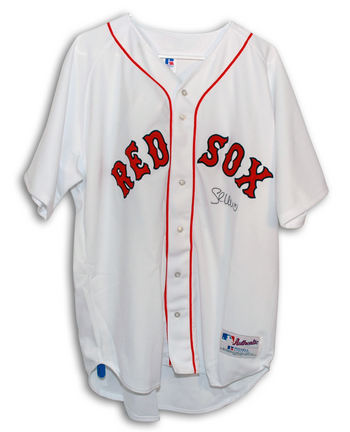 Shea Hillenbrand Boston Red Sox Autographed Authentic Russell Athletic MLB Baseball Jersey Signed in Black Sharpie (White)