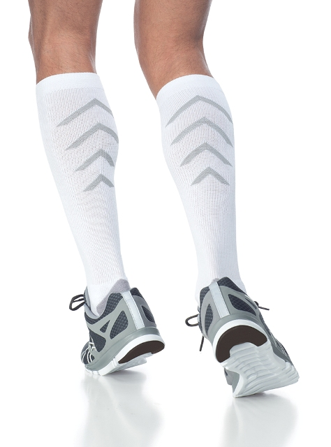 Sigvaris Athletic Recovery 401CL00 15-20mmHg Athletic Recovery Closed Toe Calf Socks - White Large