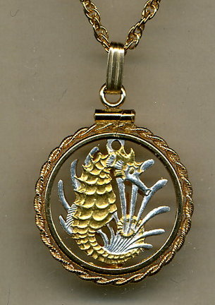"Singapore 10 Cent ""Seahorse and Seaweed"" Two Tone Coin Cut Out Pendant with 18"" Chain and Rope Bezel"