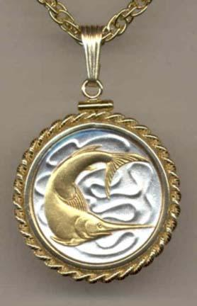"""Singapore 20 Cent """"Swordfish"""" Two Tone Gold Filled Rope Bezel Coin Pendant with 18"""" Chain"""