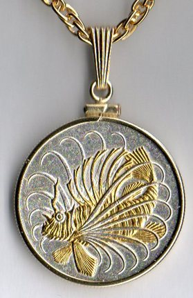 "Singapore 50 Cent ""Lionfish"" Two Tone Plain Bezel Coin with 24"" Chain"