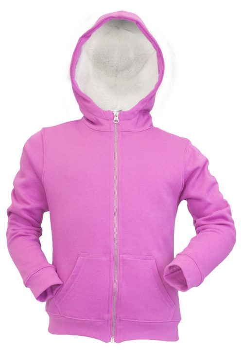 Soffe 7420G511LRG Girl Sherpa Lined Full Zip Meadow Mauve - Large