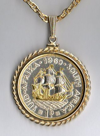 """South African Penny """"Sailing Ship"""" Two Tone Rope Bezel Coin on 24"""" Chain"""