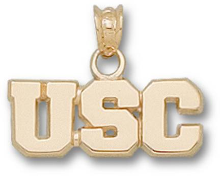 "South Carolina Gamecocks Block ""USC"" 1/4"" Pendant - 10KT Gold Jewelry"