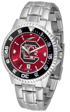 South Carolina Gamecocks Competitor AnoChrome Men's Watch with Steel Band and Colored Bezel