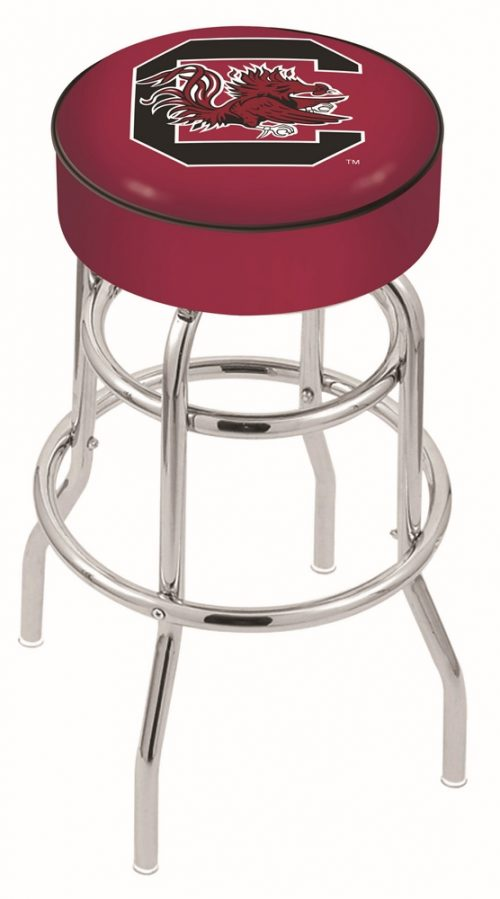 "South Carolina Gamecocks (L7C1) 25"" Tall Logo Bar Stool by Holland Bar Stool Company (with Double Ring Swivel Chrome Base)"
