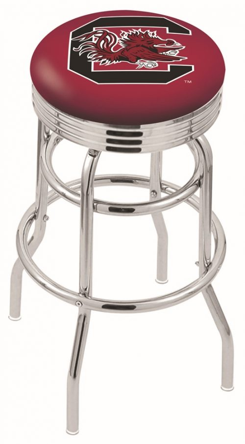 "South Carolina Gamecocks (L7C3C) 30"" Tall Logo Bar Stool by Holland Bar Stool Company (with Double Ring Swivel Chrome Base)"