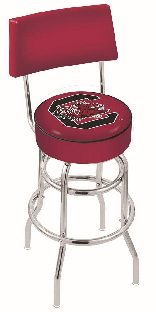 "South Carolina Gamecocks (L7C4) 25"" Tall Logo Bar Stool by Holland Bar Stool Company (with Double Ring Swivel Chrome Base and Chair Seat Back)"