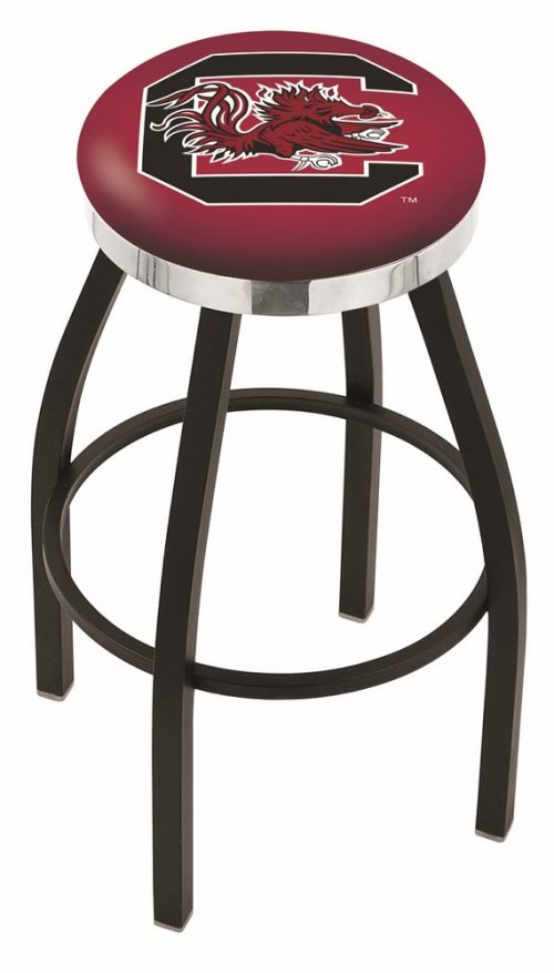 "South Carolina Gamecocks (L8B2C) 25"" Tall Logo Bar Stool by Holland Bar Stool Company (with Single Ring Swivel Black Solid Welded Base)"