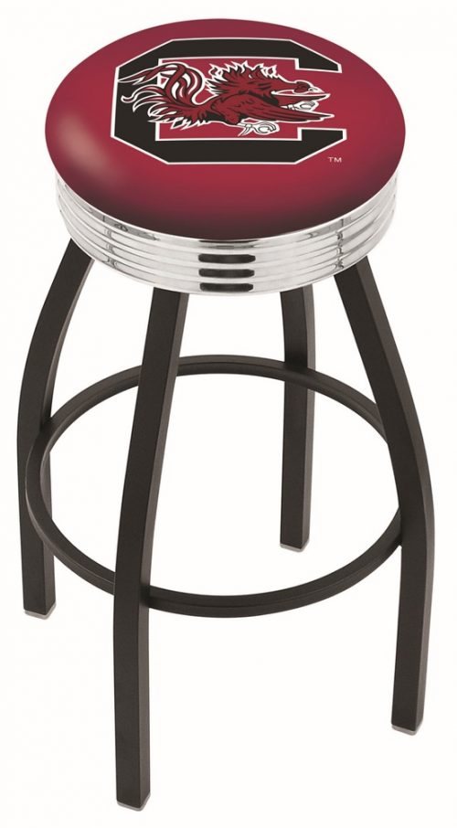 "South Carolina Gamecocks (L8B3C) 25"" Tall Logo Bar Stool by Holland Bar Stool Company (with Single Ring Swivel Black Solid Welded Base)"
